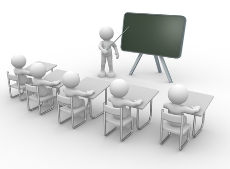 Artists impression of a classroom, pupils sat at desks looking at the teacher and board.