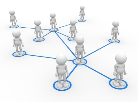 People standing in a grid representing a network topology.