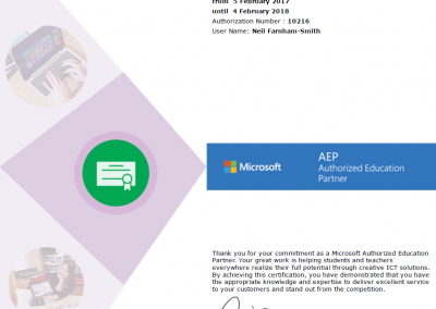 Microsoft AER 2017 Certificate for Surftec Ltd